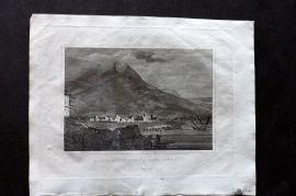 Barclay 1812 Antique Print. City of Catania and Mount Etna, Sicily, Italy